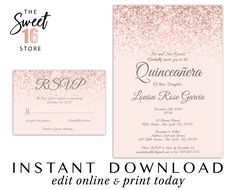 Quinceanera Set, Invitations and RSVP Response Card, Printable Chic Rose Gold & Blush Pink Glitter Q Quince Invitations, Sweet 16 Invitations, Quinceanera Invitations, Wedding Invitations, Text Message Invitations, Invitation Text, Glam And Glitter, Pink Glitter, Glitter Party Decorations
