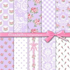 """Shabby chic digital paper : """"Elizabeth"""" purple digital paper with pink roses, lace patterns, polka dot and damask, wedding invitation"""