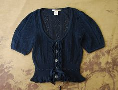 Nanette Lepore Navy Pointelle Knit Ruffle Tie Cardigan Sweater Shirt Top XS 0 #NanetteLepore #KnitTop