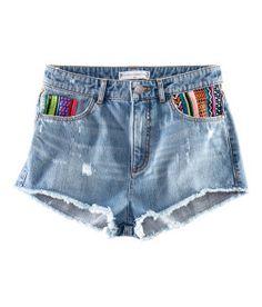 tribal print pocket denim shorts