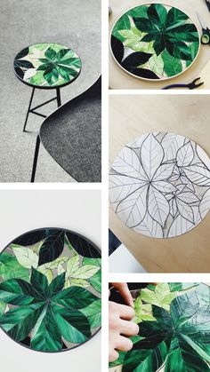 Chestnut leaves bedside table sofa table round end table round coffee table stained glass leaves metal plant stand botany art Mosaic Crafts, Mosaic Projects, Resin Crafts, Mosaic Art, Mosaic Mirrors, Stained Table, Stained Glass Art, Mosaic Designs, Mosaic Patterns