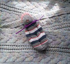 Lavender Filled Sachet Handmade Sock Doll Grey w/Pink Heart Eyes Pink Mouth #Pedricks