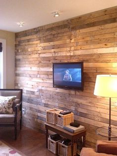 "Wooden wall treatment, great ideas for the wall that needs ""something"". It will also absorb sound to ensure that sound system doesn't go to waste."