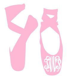 Ballet Shoes with Monogram or Name Vinyl Decal