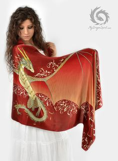PRE-ORDER - Red silk scarf with a dragon wings - Mystical creature, Fantasy art, Cute little guardian, Fairy tale wedding, Magical guardian