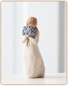 """""""Holding thoughts of you closely"""" Size: 5"""" tall """"Forget-me-not is a thinking of you piece, with a universal message. She represents timeless friendship and love that spans any distance. She's also ano"""