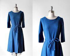 1960 blue wool dress. 60's medium dress. a-line by stickylipgloss