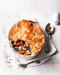 Shortcrust pastry has been swapped for ready-made filo pastry sheets to make both a healthier and easier recipe. Ready in under an hour this chicken pie makes for a comforting midweek meal.