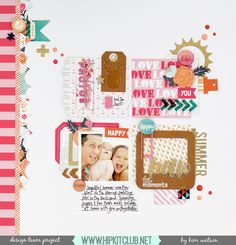 A grid style page is perfect when you are wanting to use lots of pretty product, yet still keep the page clean. The colors are perfect for this cute summer shot! Travel Scrapbook, Scrapbook Cards, Hip Kit Club, Photographs And Memories, Club Design, Crate Paper, Happy Summer, Fancy Pants, Layout Inspiration