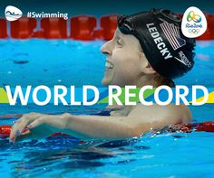 Katie Ledecky's gold medal swim (3:56.46) beat her own world record by nearly 2 seconds. #RioRecords