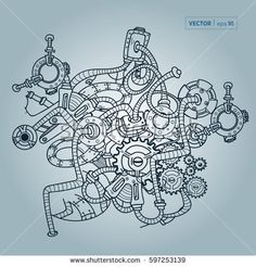 Decorative image of mechanical parts and spare parts