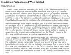 Inquisition Protagonists I Wish Existed - http://holyshitdragonage.tumblr.com/post/123691859676/inquisition-protagonists-i-wish-existed
