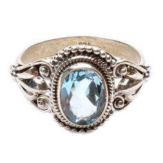 Topaz modrý gravírovaný prsten stříbro Ag 925 LU 1017