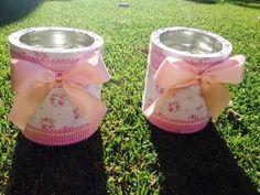 Latas de leche decoradas - DIY Fun Crafts, Diy And Crafts, Pots, Baby Shawer, Craft Room Storage, Nursery Room, Flamingo, Chai, Tin
