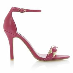 DUNE LADIES HALETTE - Metal Detail Ankle Strap Heeled Sandal By Dune London #dunelondon #dune #sandals #shoes #pink #bright #heels #fashion #style #ss14