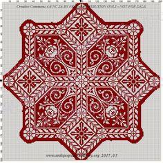 Gallery.ru / Фото #52 - filet crochet - efiefi Biscornu Cross Stitch, Cross Stitch Borders, Cross Stitch Heart, Cross Stitch Designs, Cross Stitching, Cross Stitch Patterns, Knitting Patterns, Blackwork Embroidery, Cross Stitch Embroidery