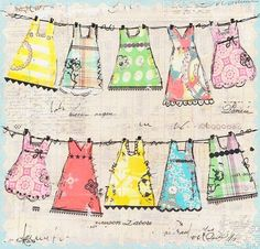 This would be a cute quilt design for a girl, with fabric from baby's first yrs. clothing,adding ric-rac,lace,button embellishments/dresses on the line/@Kim Dorris