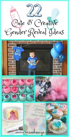 DIY Crafts : 22 Cute & Creative Gender Reveal Ideas see the roundup of ideas on www. Gender Party, Baby Gender Reveal Party, Simple Gender Reveal, Gender Reveal For Siblings, Gender Announcements, Boy Announcement, Reveal Parties, Diy Crafts, Fun