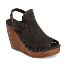 Women's Very Volatile Carry Wedge Sandal ($110) ❤ liked on Polyvore featuring shoes, sandals, grey leather, gray sandals, wedges shoes, wedge sandals, cut out wedge sandals and open back clogs