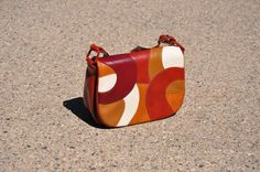 cognac brown shoulder bag / 1970s patchwork clutch by QuietUnrest