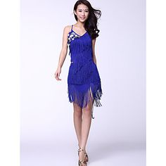 Dancewear Chinlon And Tassels With Coins Latin Dance Outfits for Ladies in BLACK or PURPLE – USD $ 29.69