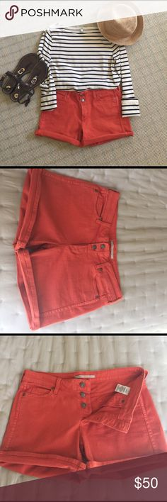 "Vince Stretch Denim Shorts These shorts are awesome! They're kind of a burnt orange color, they have a 4"" inseam and tons of stretch. They're mid to low waisted with a button fly. Fabric: 98% cotton, 2% elastane. Vince Shorts Jean Shorts"