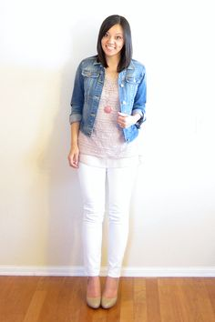 Putting Me Together: Shop Intro: White Plum Love this. White jeans, coral, denim jacket and nude shoes.
