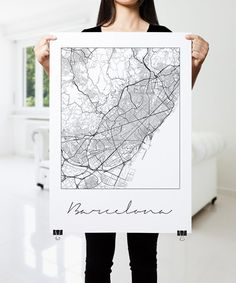 BARCELONA Map Print Modern City Poster Black and by PFposters