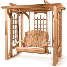 Cedar Outdoor Indoor Gazebo Swing Set Pergola Wood Lattice Yard Patio Awning FUN