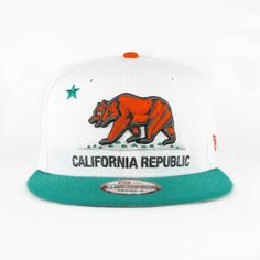 California Republic White Teal Orange (Gray Under) SNAPBACK