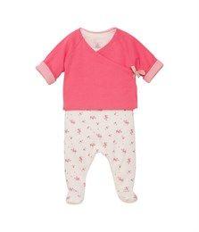 Ensemble bébé fille veste réversible et dors bien imprimé rose Gelato / blanc Lait - Petit Bateau