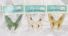 """LARGE Vintage BUTTERFLY MACRAME BEADS Lot/3 Craft Retro 70s Home Decor NOS MIP 2 7/8"""" #FibreCraft"""