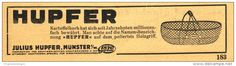 Original-Werbung/ Anzeige 1931 - HUPFER KARTOFFELKORB / JULIUS HUPFER MÜNSTER i.W.  ca. 160 x 40 mm