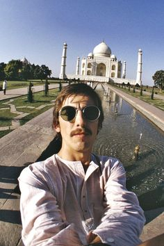 George Harrison in India, 1966. Selfie in front of the Taj Mahal