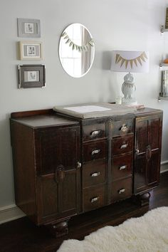 We love a vintage dresser as a changing table! #nursery
