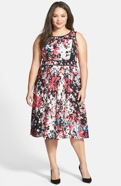 49a170560e9 Adrianna Papell Print Pleat Fit   Flare Dress (Plus Size)