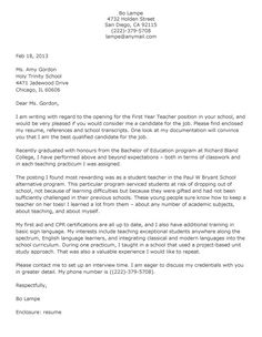 cover letter template for resume for teachers | Year Teacher Cover Letter format and then make sure that your letter ...