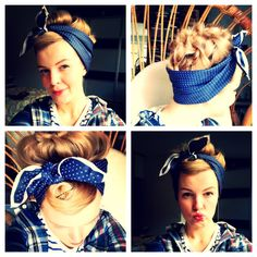 Coiffure foulard années 50 rockabilly pin up - - Retro Hairstyles, Scarf Hairstyles, Easy Hairstyle, Pin Up Hair, My Hair, Bailar Swing, Curly Hair Styles, Natural Hair Styles, Estilo Pin Up