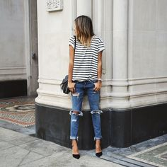 Classics: stripes, rips and black @mgemi pumps that just launched today! ❤️ #lovemgemi / sincerelyjules.com #Padgram