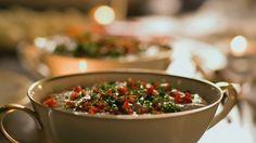 Gorgonzola and Cannellini dip with a Tricolore flourish - Nigella