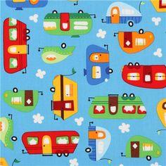 blue camper caravan fabric by Robert Kaufman from the USA