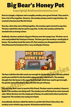 This is one of the best children's short stories about bears. Full story in link above, read now. Short Moral Stories, English Short Stories, Kids English, Big Bear, Stories For Kids, Great Friends, Storytelling, Bears, Honey