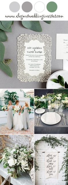 Popular grey and greenery elegant wedding colors with invitation ideas for 2018 trends. #wedding#invitation#greenery#garden#elegantweddinginvites
