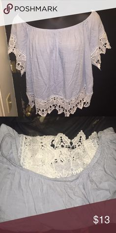 Off Shoulder Blue Lace Top Plus Size 3X Brand New off shoulder blue lace  top featuring lace sleeves   detail. Pretty stretchy   lightweight 906a862c0