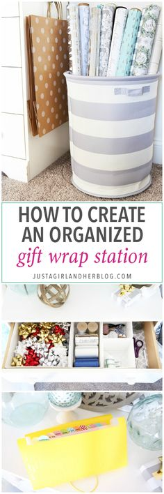 Home Organization- How to Create an Organized Gift Wrap Station, wrapping paper, wrapping station, holidays, Christmas presents, holiday gifts, bows, ribbon, gift bags, party supplies, wrapping paper storage station
