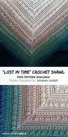 "Take a look on this stunning ""Lost in Time"" . This pattern can be customized to your size with any yarn or hook size. Pattern available in Swedish, English (US), Dutch, German and Finnish plus charts. Crochet Thread Patterns, Easy Crochet Stitches, Crochet Shawl Free, Crochet Shawls And Wraps, Knit Or Crochet, Crochet Scarves, Crochet Clothes, Lost In Time Shawl, Unique Crochet"