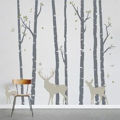 Birch Trees Forest with Deer  Vinyl Wall by WallumsWallDecals
