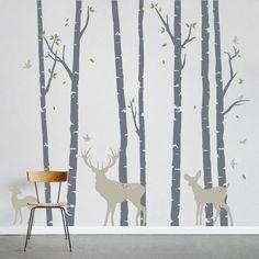 Birch Trees Forest with Deer - Vinyl Wall Decal, Birch Forest Wall Decal, Deer Wall Decal, Woodlands Nursery Theme, Nursery Tree Sticker