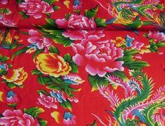 Tissus Chinois Rouge  Coton lot de 5