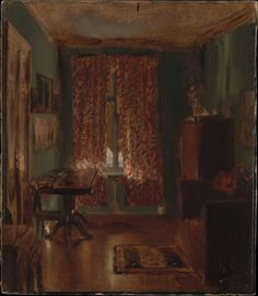This intimate, evocative interior view belongs to a group of five paintings in which Menzel studied the effects of light in simply furnished spaces he occupied in Berlin between 1845 and 1851. They are entirely characteristic of his unwavering eye for quotidian detail, yet the artist considered such works experiments and he never exhibited them. The Artist's Sitting Room in Ritterstrasse  Artist:Adolph Menzel (German, Breslau 1815–1905 Berlin) Date:1851